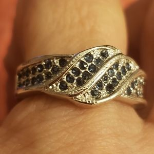 Blue rhinestone ring